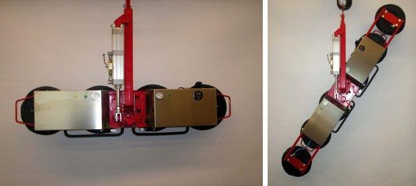 Afmetingen: 300 x 1200 x 190 / 300kg laadvermogen met 4 zuignappen - 300 x 2000 x 190 / 450kg laadvermogen met 6 zuignappen